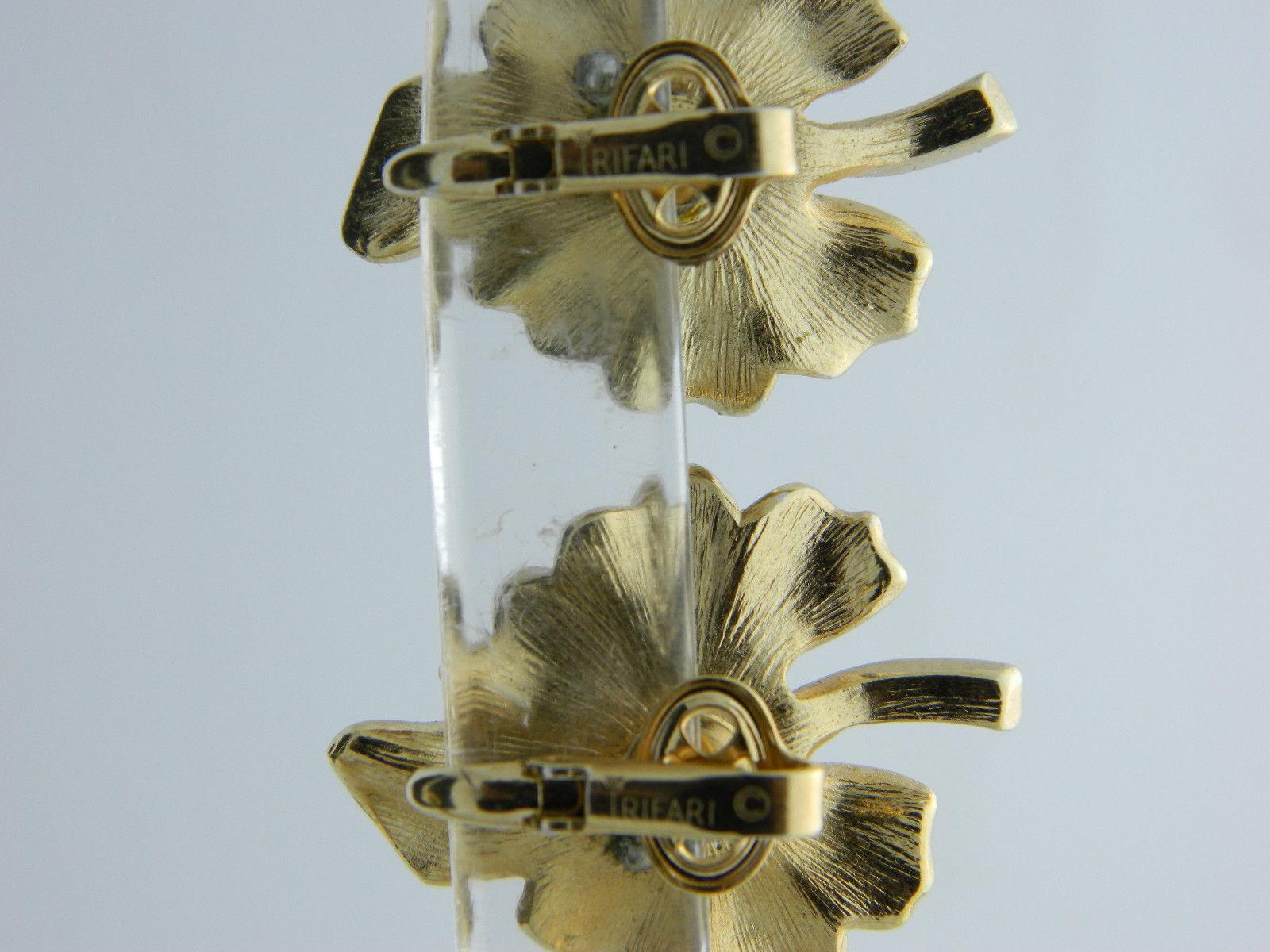 Crown TRIFARI Yellow Leaf Clear Rhinestone Bug Gold Tone Clip Earrings Vintage