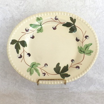Platter with Green Vine Design Oval Beaded Edge Design Unbranded No Mark - £15.66 GBP