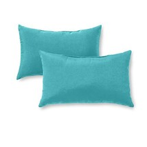 Greendale Home Fashions OC5811S2-TEAL Rectangle Outdoor Accent Pillow, S... - $26.98