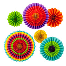 New Fiesta Paper Fan Decoration 6 Colorful Fans Cinco de Mayo Southweste... - $9.49