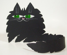 Black Cat Metal Free Form Green Eyes Wrap Tail Artist Marta Kitty Feline... - $14.49