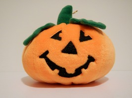"Jack O Lantern Halloween Pumpkin Plush 6""W x 4""H With String - Brand New - £7.22 GBP"