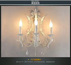 Iron & Crystal Leaf Sconce Triple E14 Light Wall Lamp Home Lighting Fixture - $265.89