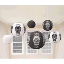 6 Lanterns Black and Bone Skull Day of the Dead - $13.29