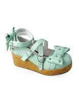 2.5 Inch Platform Mint PU Ankle High Round Toe Bow Flatform Lolita Shoes - $51.55