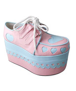 4 Inch Platform Round Toe Ankle High Pink and Blue Heart Pattern PU Loli... - $69.78
