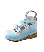 2.5 Inch Platform Blue and White Ankle High Round Toe Bow PU Flatform Lo... - $51.55