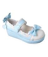 2 Inch Platform Ankle High Round Toe White and Blue Bow PU Flatform Loli... - $48.95