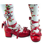 1.8 Inch Heel Ankle High Round Toe Bows Decor Red PU Lolita Shoes - $46.34
