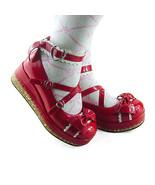 2.2 Inch Platform Ankle High Round Toe Bow Decor Red PU Flatform Lolita ... - $46.34
