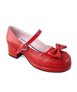 1.8 Inch Heel Round Toe Ankle High Bow Decor Wine Red PU Lolita Shoes - $46.34