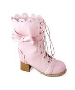 2.5 Inch Heel Mid Calf Round Toe Bow Decor Pink PU Lolita Boots - $85.40