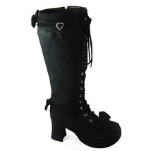 3 Inch Heel Mid Calf Round Toe Bows Decor Suede Black Lolita Boots - $82.79