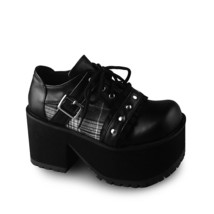 4.8 Inch Heel 2.6 Inch Platform Square Toe Ankle High White and Black La... - $74.98