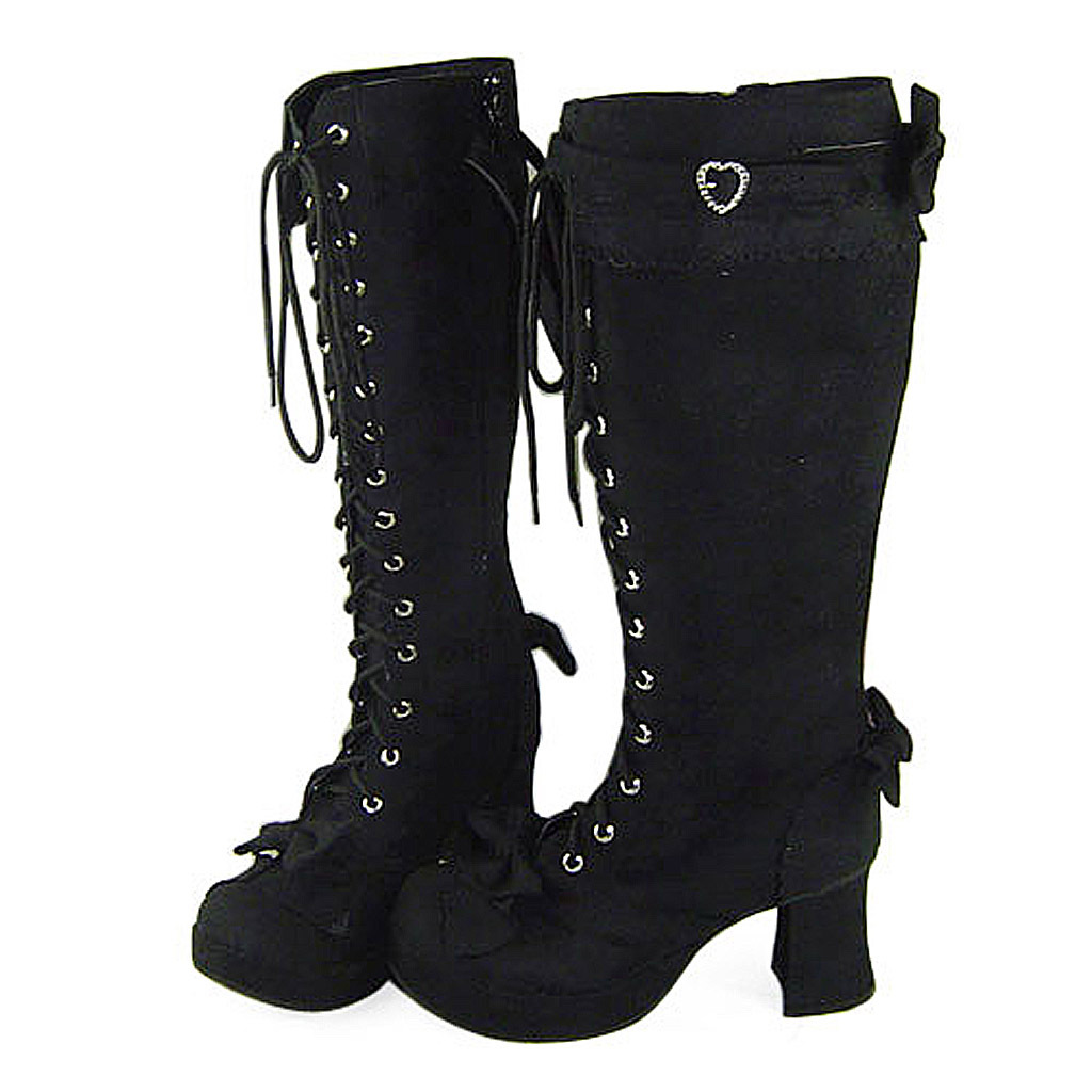 3 Inch Heel Mid Calf Round Toe Bows Decor Suede Black Lolita Boots image 2