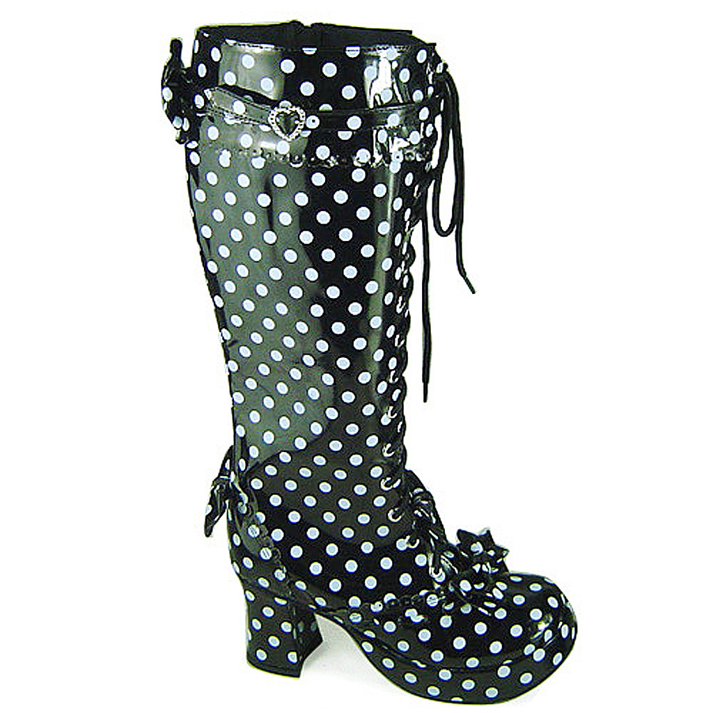 3 Inch Heel Mid Calf Round Toe Bows Decor White Polka Dot Black PU Lolita Boots