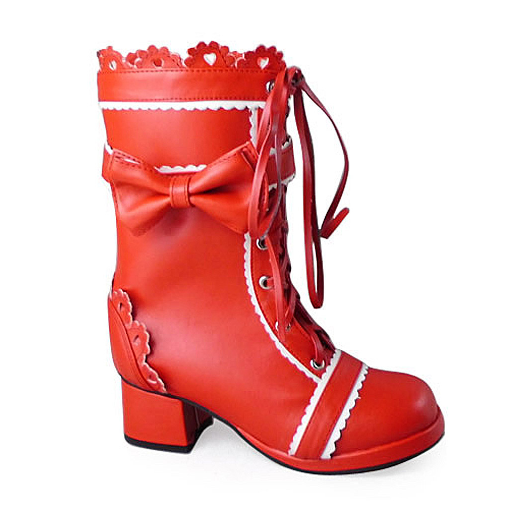 1.8 Inch Heel Mid Calf Round Toe Bow Decor Red PU Lolita Boots image 1