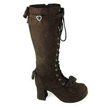 3 Inch Heel Mid Calf Round Toe Bows Decor Suede Brown Lolita Boots - $82.79