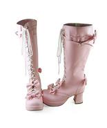 3 Inch Heel Mid Calf Round Toe Bows Decor Pink PU Lolita Boots - $82.79