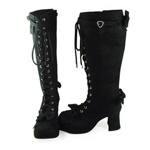 3 Inch Heel Mid Calf Round Toe Bows Decor Suede Black Lolita Boots image 3