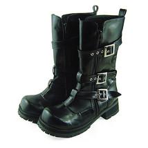 1.6 Inch Heel Mid Calf Round Toe Buckle Zipper Black PU FlatForm Lolita ... - $77.59