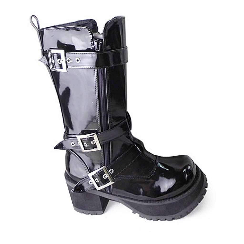 3.2 Inch Heel Mid Calf Round Toe Buckle Zipper Black PU Flatform Lolita Boots