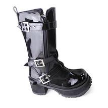 3.2 Inch Heel Mid Calf Round Toe Buckle Zipper Black PU Flatform Lolita ... - $77.59