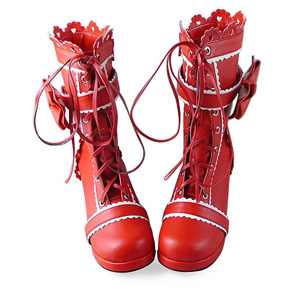 1.8 Inch Heel Mid Calf Round Toe Bow Decor Red PU Lolita Boots image 2