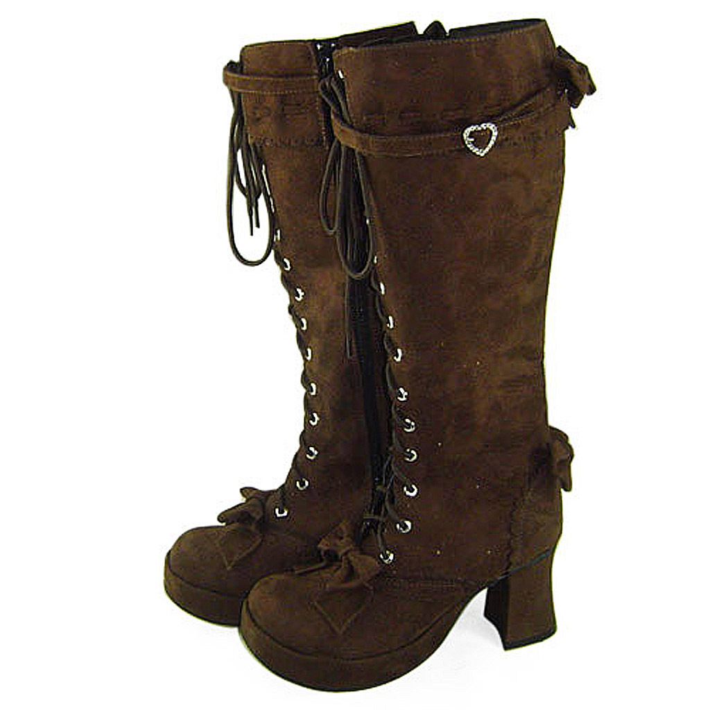 3 Inch Heel Mid Calf Round Toe Bows Decor Suede Brown Lolita Boots