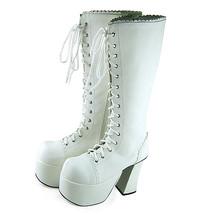 4.8 Inch Heel 3 Inch Platform Mid Calf Zipper White PU Flatform Lolita B... - $85.40
