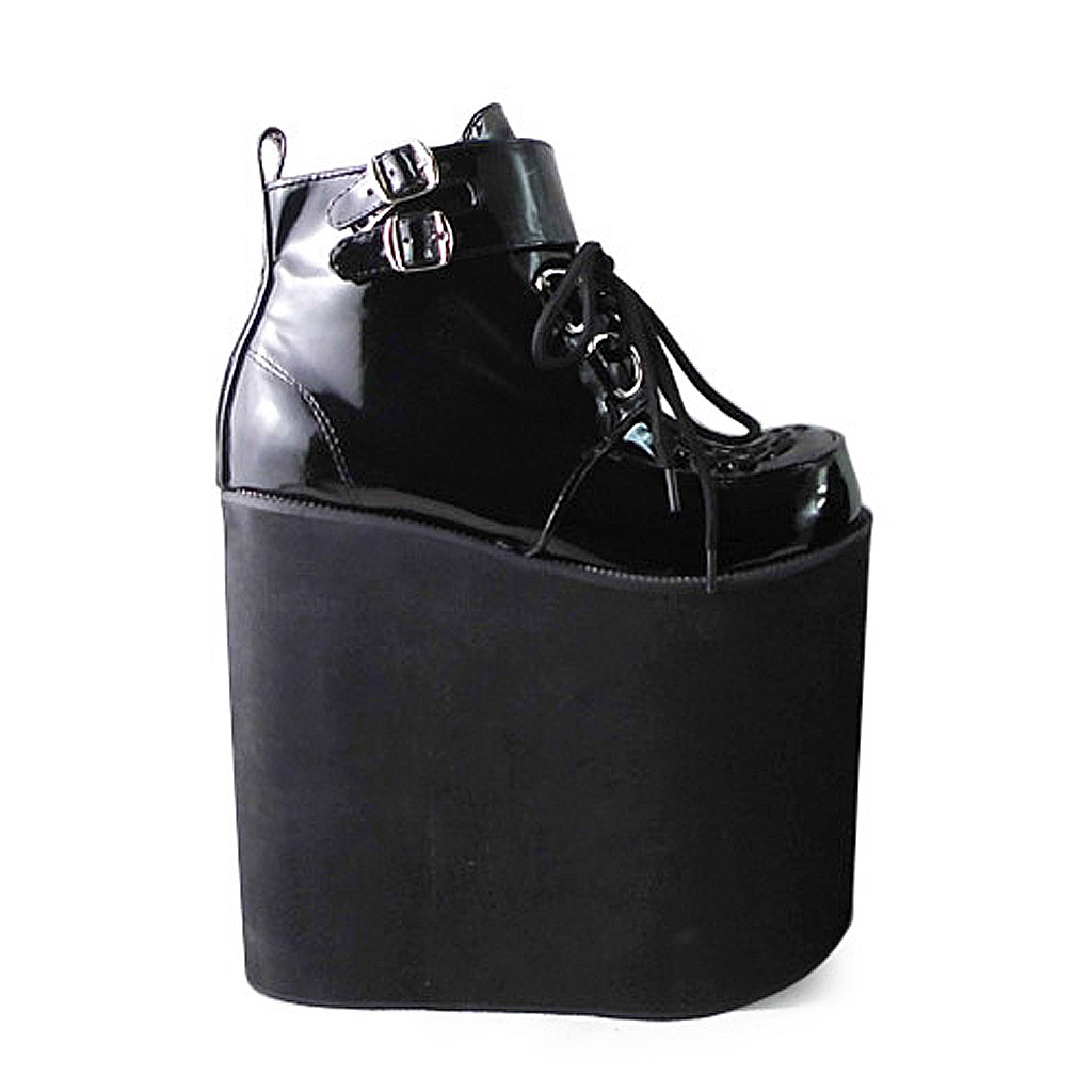 8.6 Inch Platform Ankle High Round Toe Buckle Black PU Flatform Lolita Shoes