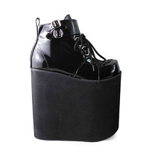8.6 Inch Platform Ankle High Round Toe Buckle Black PU Flatform Lolita Shoes image 1
