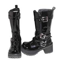 3.2 Inch Heel Mid Calf Round Toe Buckle Zipper Black PU Flatform Lolita Boots image 2