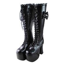 4.8 Inch Heel 3 Inch Platform Round Toe Mid Calf Bow Zipper Black PU Flatform Bo image 3