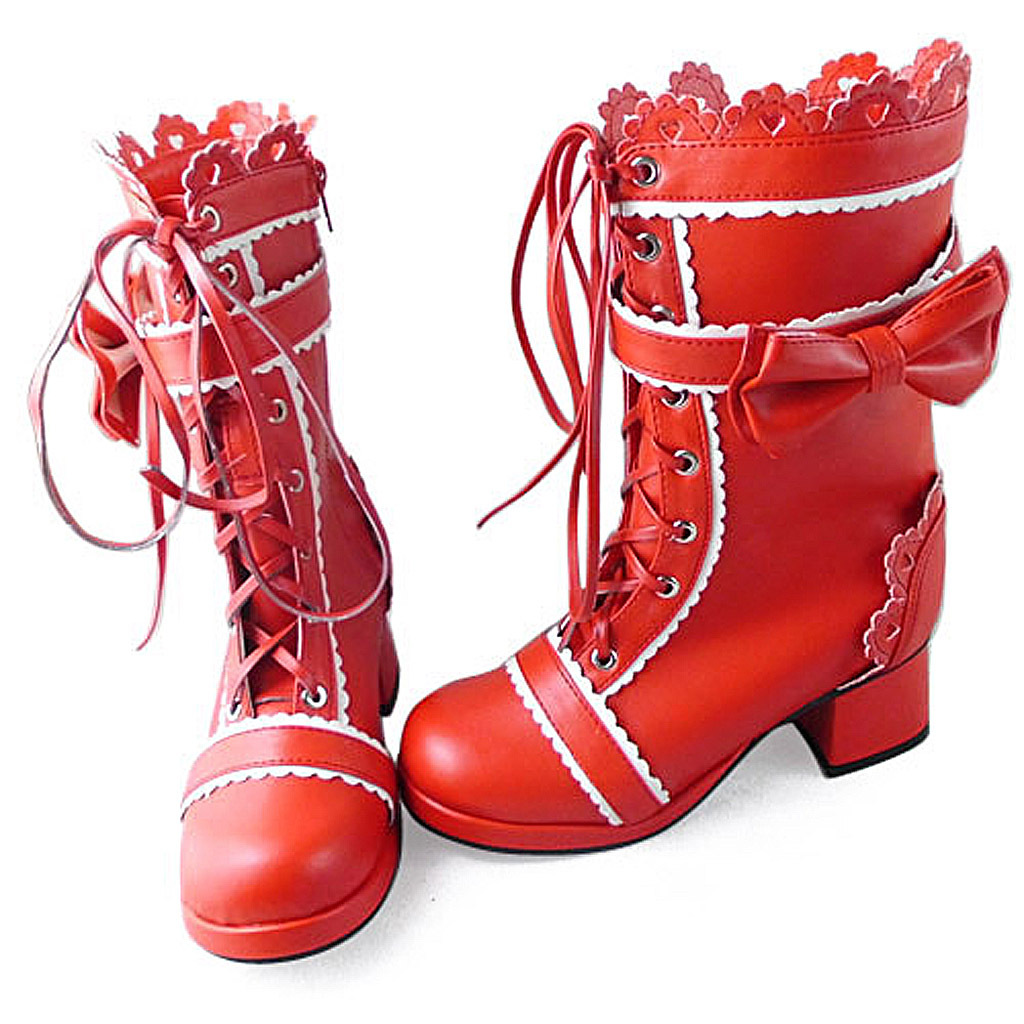 1.8 Inch Heel Mid Calf Round Toe Bow Decor Red PU Lolita Boots