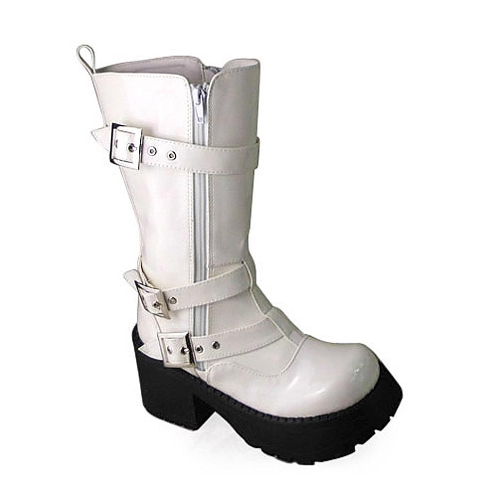 1.8 Inch Heel Mid Calf Round Toe Buckle Zipper White PU Flatform Lolita Boots