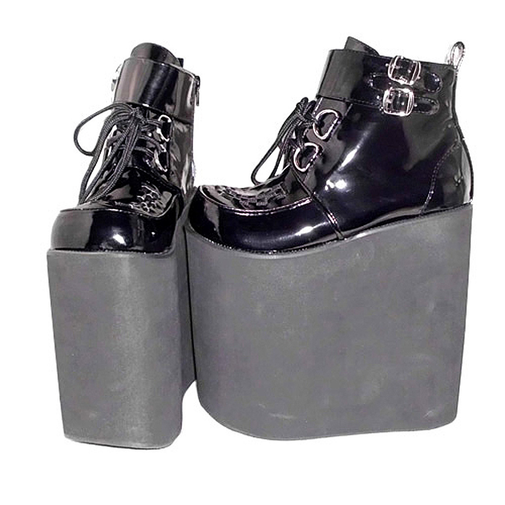 8.6 Inch Platform Ankle High Round Toe Buckle Black PU Flatform Lolita Shoes image 2