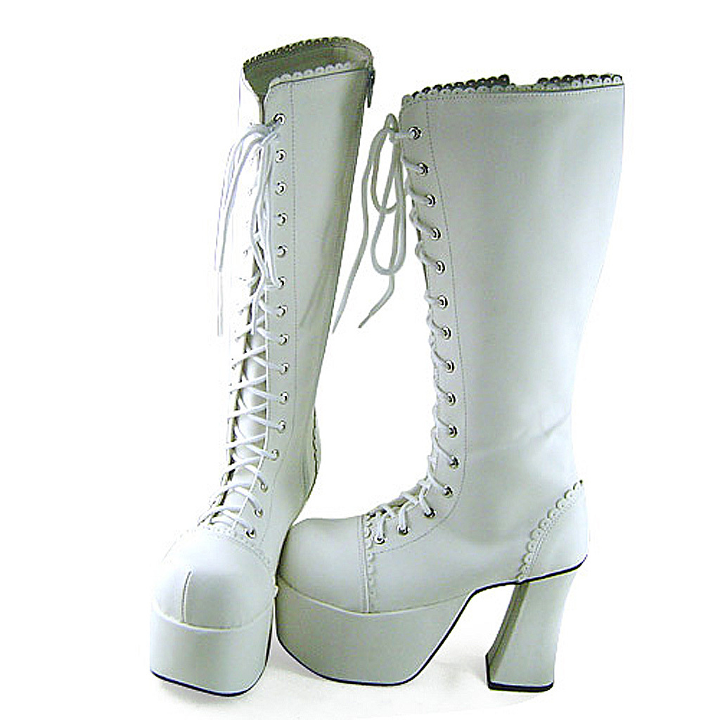4.8 Inch Heel 3 Inch Platform Mid Calf Zipper White PU Flatform Lolita Boots