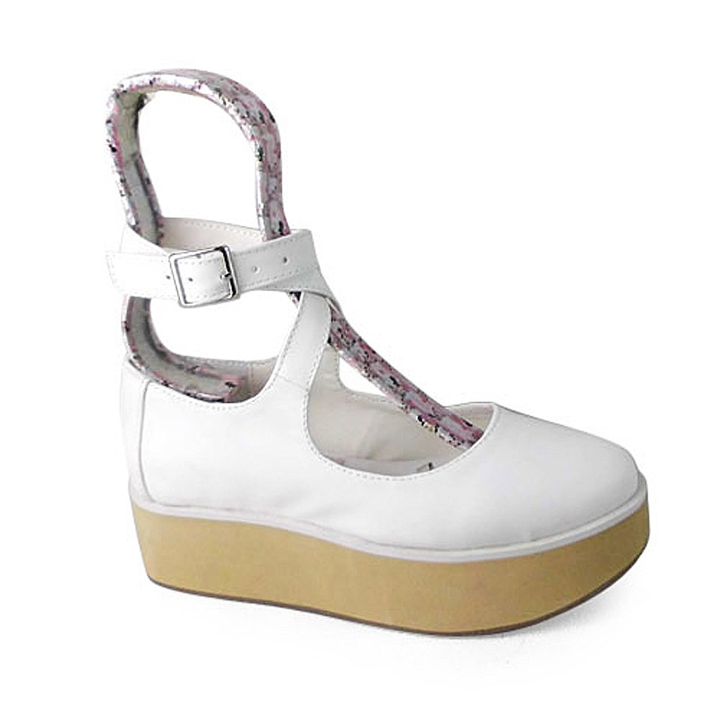 2 Inch Platform Ankle High Round Toe White PU Flatform Lolita Shoes