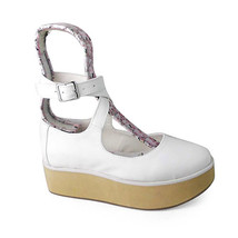 2 Inch Platform Ankle High Round Toe White PU Flatform Lolita Shoes - $59.36