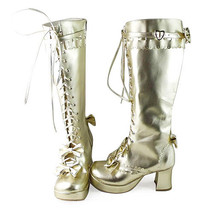3 Inch Heel Mid Calf Round Toe Bows Decor Gold PU Lolita Boots - $82.79