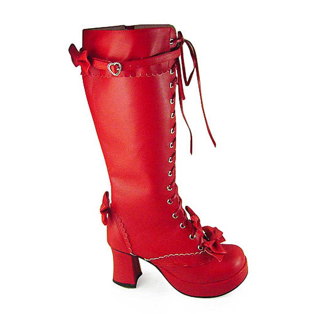 3 Inch Heel Mid Calf Round Toe Bows Decor Red PU Lolita Boots