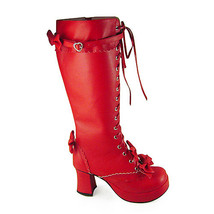3 Inch Heel Mid Calf Round Toe Bows Decor Red PU Lolita Boots - $82.79