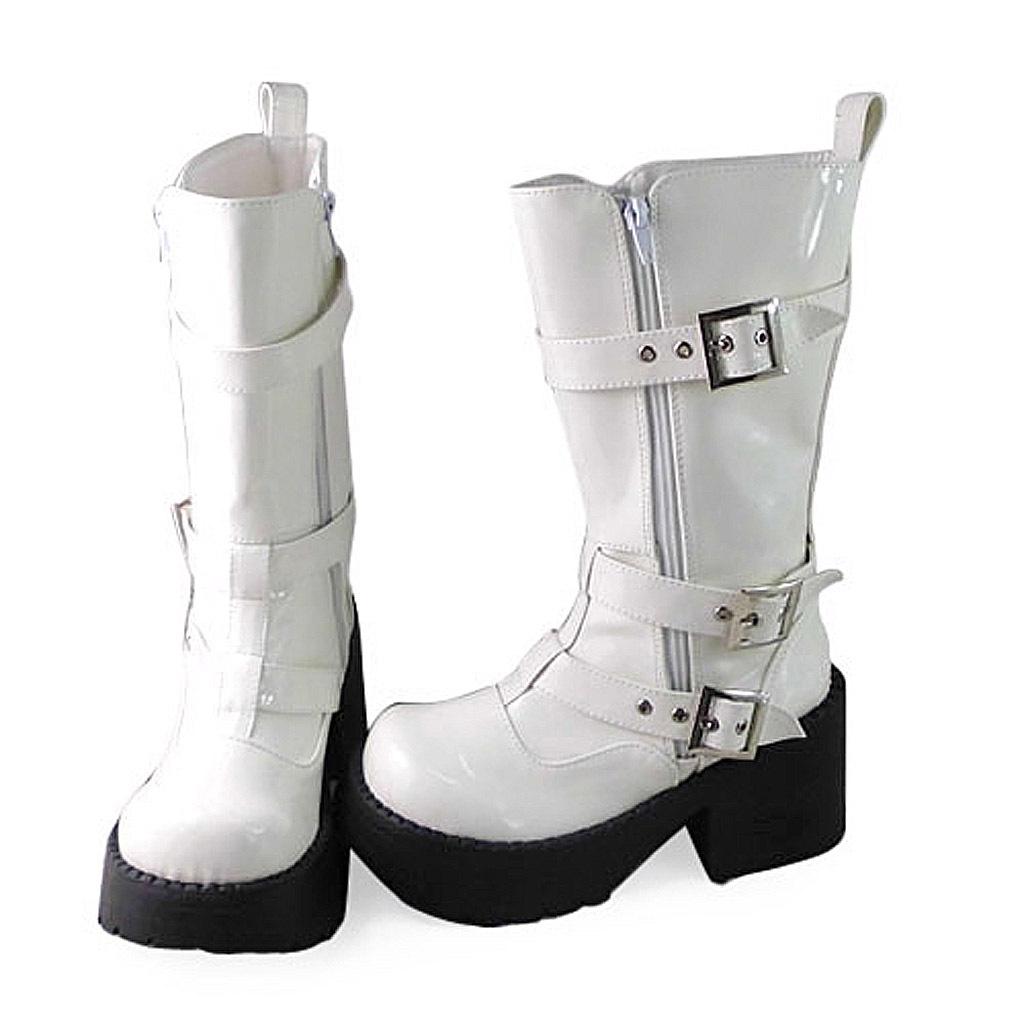 1.8 Inch Heel Mid Calf Round Toe Buckle Zipper White PU Flatform Lolita Boots image 2