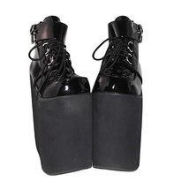 8.6 Inch Platform Ankle High Round Toe Buckle Black PU Flatform Lolita Shoes image 3