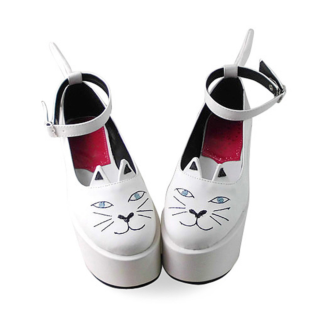 3.6 Inch Platform Ankle High Round Toe White and Black Ketty Flatform Lolita Sho image 2