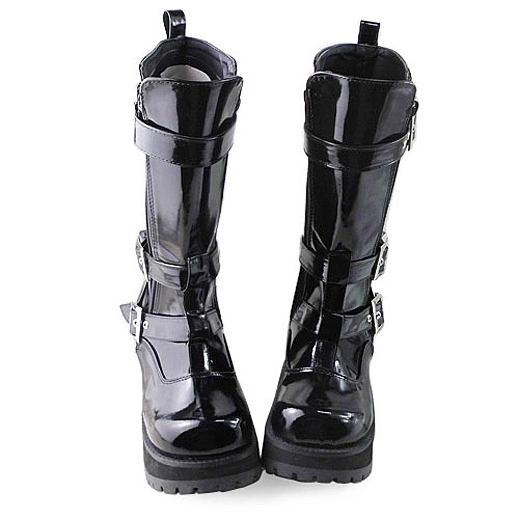 3.2 Inch Heel Mid Calf Round Toe Buckle Zipper Black PU Flatform Lolita Boots image 3