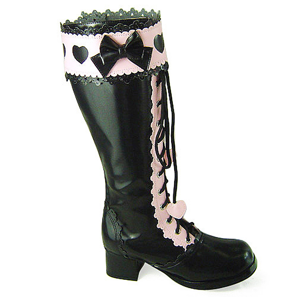 Primary image for 1.8 Inch Heel Mid Calf Round Toe Bow Heart Pattern Zipper Pink and Black PU Loli