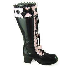 1.8 Inch Heel Mid Calf Round Toe Bow Heart Pattern Zipper Pink and Black... - $85.40