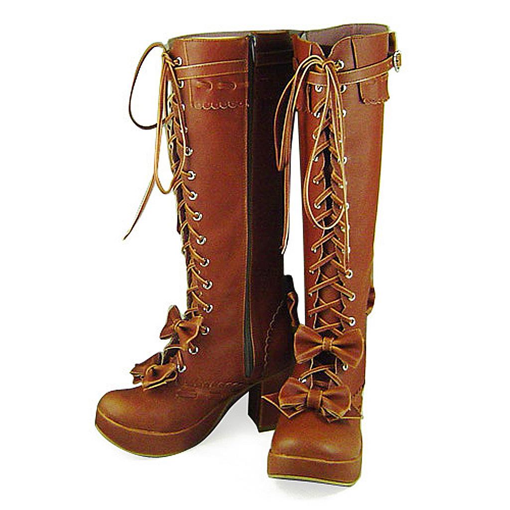 3 Inch Heel Mid Calf Round Toe Bows Decor Zipper Light Brown PU Lolita Boots